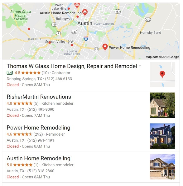Google's Local Map Pack with a paid listing.