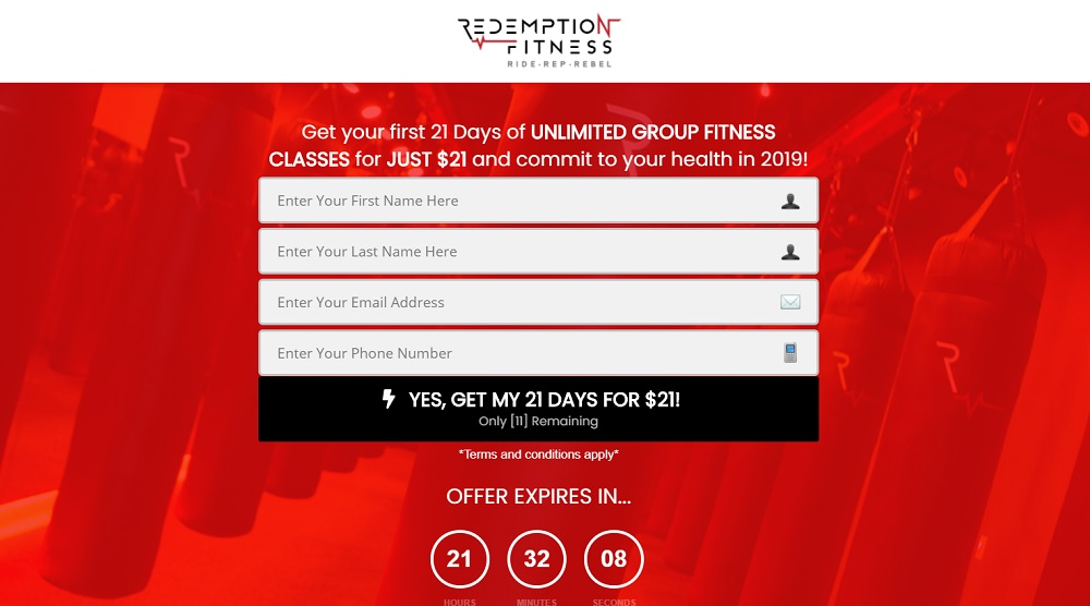 Example of a fitness sales funnel