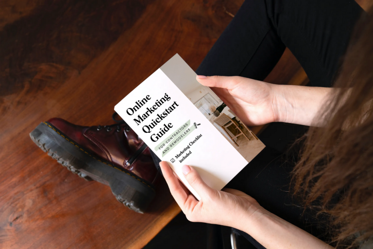 Woman contractor reading free guide