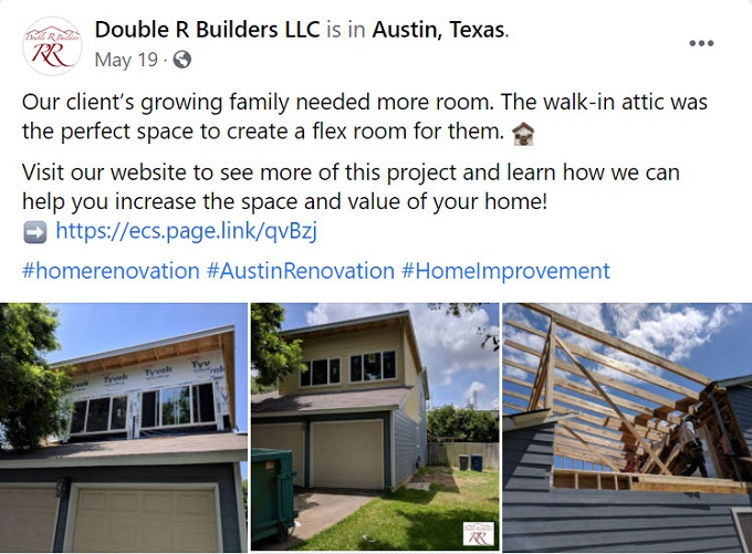 Progress shot by home general contractor